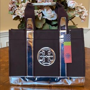 ⭐️NWT⭐️TORY BURCH BROWN & SILVER CANVAS TORY TOTE
